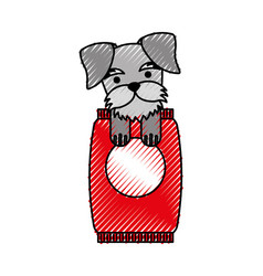 cute dog mascot with bag food vector image vector image