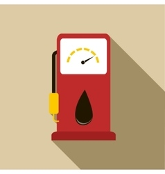 Gas station pump with fuel nozzle icon flat style vector image