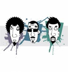 grunge heads vector image vector image
