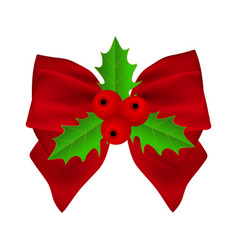 red christmas bow with holly on white background vector image vector image