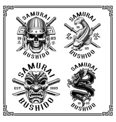 samurai mini set for white background vector image