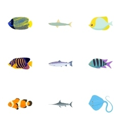 Species of fish icons set cartoon style vector image vector image