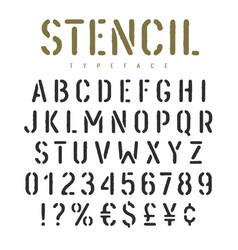 stencil font 003 vector image