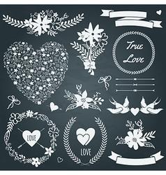wedding set with bouquets birds hearts arrows vector image