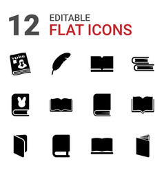 12 literature icons vector image