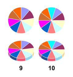 2d 3 d fraction pie fractions vector image