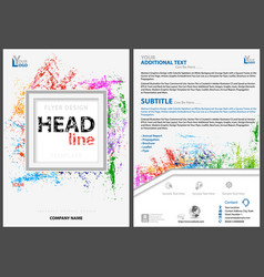 Abstract flyer template with colorful splatters vector