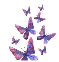 Abstract watercolor background with butterflies vector