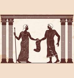 Ancient greek man and woman vector