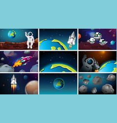 Astronauts space planets and rockets vector