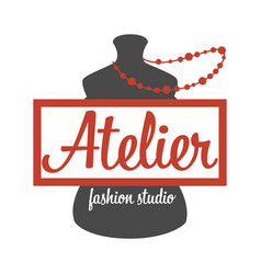 Atelier fashion studio mannequin and beads vector