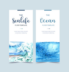 Banner design with wave and fish concept light vector