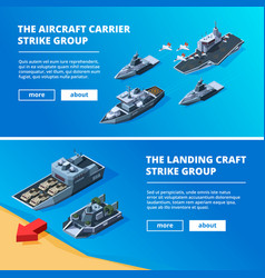 banners with military boats pictures of vector image