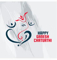 beautiful line style ganesh ji design for ganesh vector image