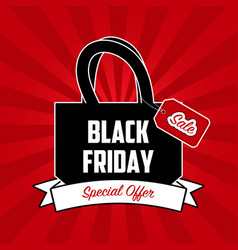 black friday sale banner with shopping bag vector image