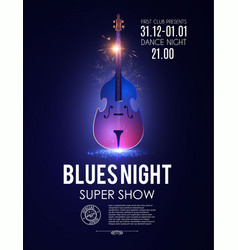 blues night musical poster template with shining vector image