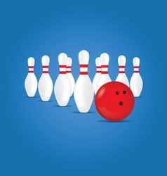 Bowling ball in red color and skittle on blue vector