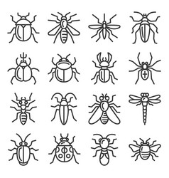 Bugs and insects icons set on white background vector
