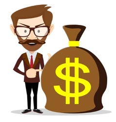 Businessman with a huge bag full of money vector