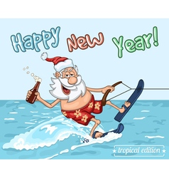 Cartoon Santa Claus on water skis vector