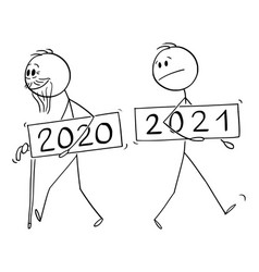 Cartoon year 2020 as old man is leaving new vector