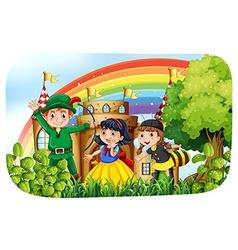 Children in costume having fun in the park vector image