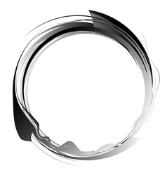 Circle with dynamic swoosh line frame monochrome vector