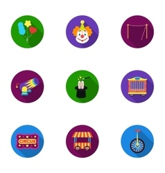 Circus set icons in flat style Big collection of vector