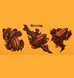 cocoa bean and chocolate shavings with splashes vector image