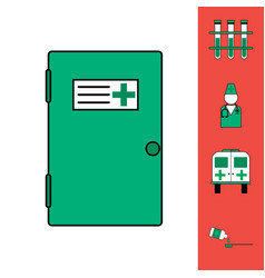 Collection of icons and medical consultation vector
