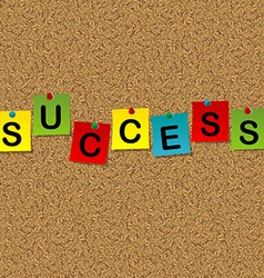 Colored sheets of paper with word Success pinned vector image