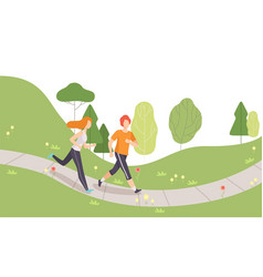 couple running in park young man and woman vector image
