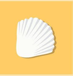 cute white seashell isolated on yellow background vector image