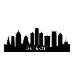 detroit skyline silhouette black detroit city vector image