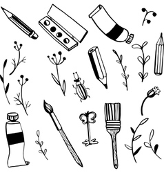 Doodle art materials vector