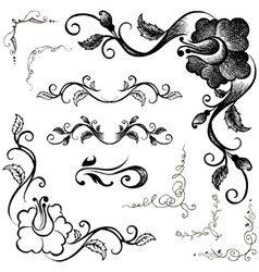 Doodle border and floral patterns hand-drawing vector image