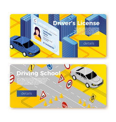 Driving school banner templates concept vector
