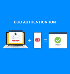 Duo authentication concept banner with text place vector