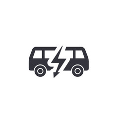 Electric bus side view silhouette simple black vector