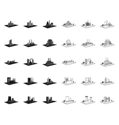 Factory and plant blackoutline icons in set vector