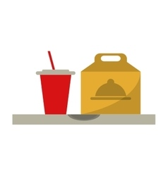 fast food take out box and plastic cup soda vector image