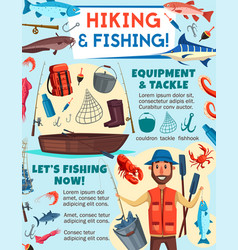 Fisherman with fish fishing and tourism equipment vector