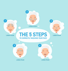 Five steps to correctly washing your face vector