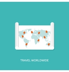 Flat map with pointer Travel vector image