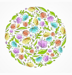 floral hand draw card vector image