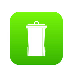 garbage bin icon digital green vector image