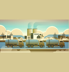 gas or oil tanker trucks over factory building vector image