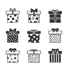 Gift boxes icons set in black and white vector
