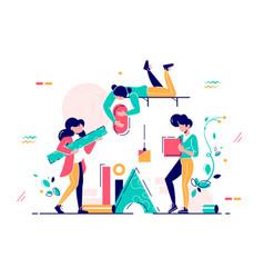 girls working in team vector image