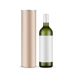 green glass wine bottle with label and carton tube vector image
